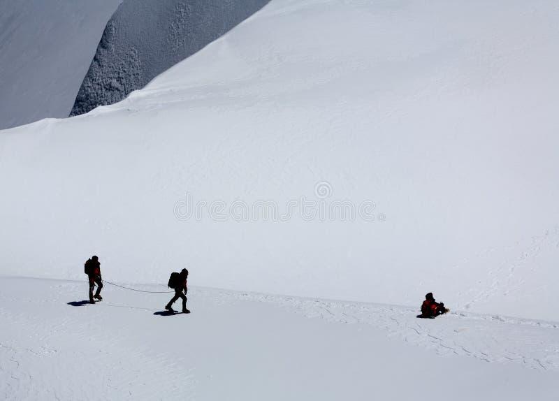 alpinists blanc du mont tacul arkivbild