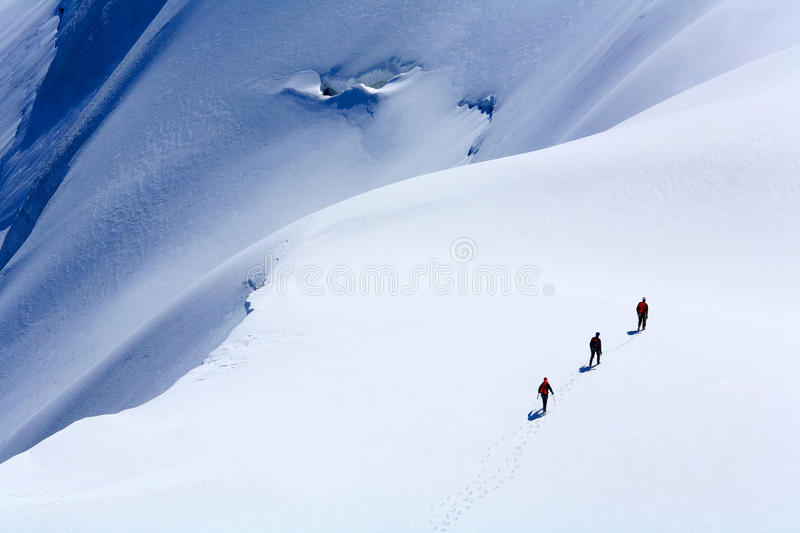 Alpinists on Mont Blanc du Tacul royalty free stock photo