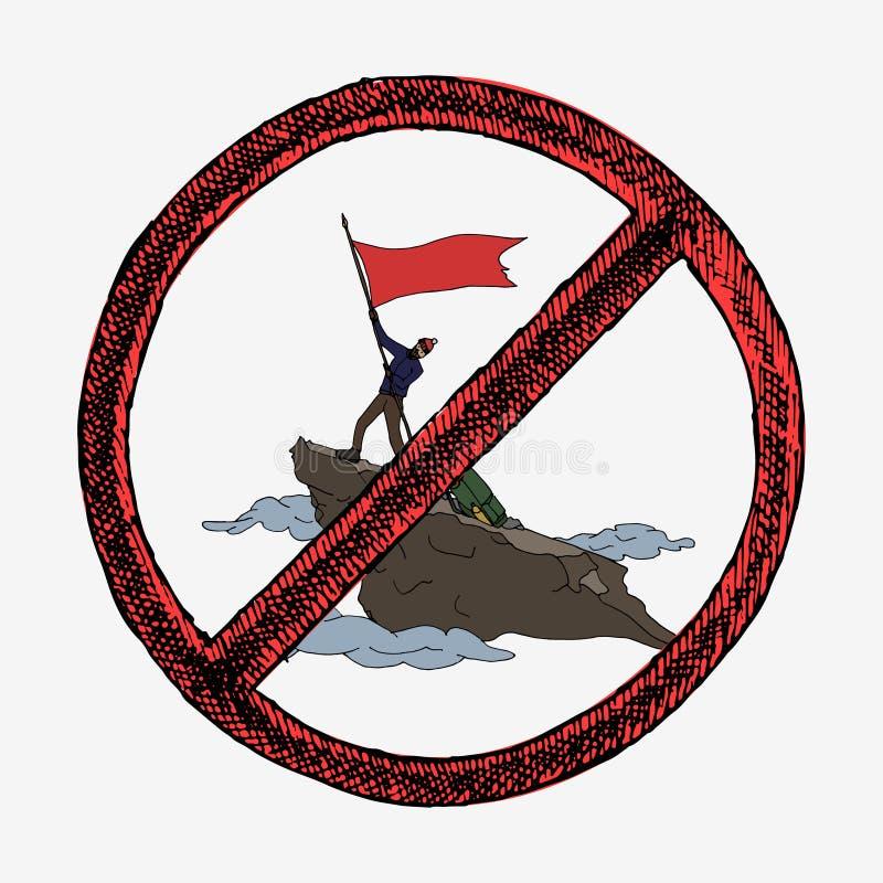 Alpinistyka z flaga zdjęcie stock
