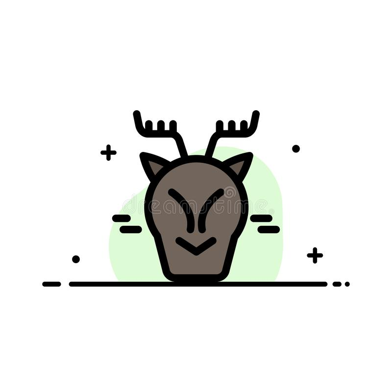 Alpint arktiskt, Kanada, plan linje för renaffär fyllde mallen för symbolsvektorbanret royaltyfri illustrationer