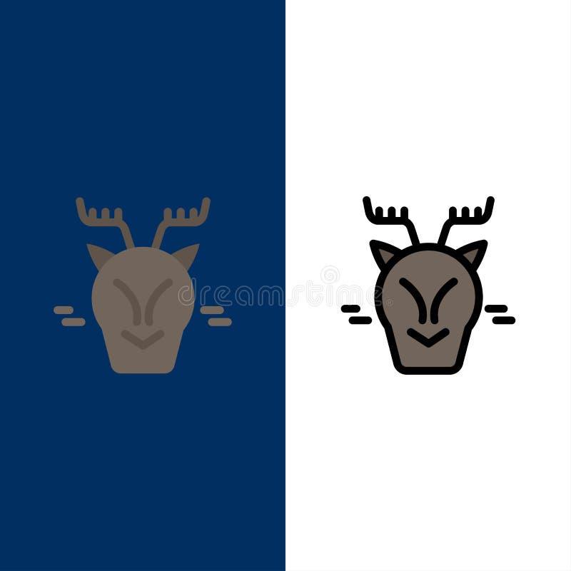 Alpint arktiskt, Kanada, rensymboler Lägenheten och linjen fylld symbol ställde in blå bakgrund för vektorn stock illustrationer