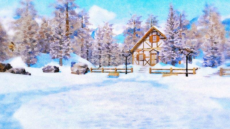 Alpint berghus på vinterdagen i vattenfärg royaltyfri illustrationer