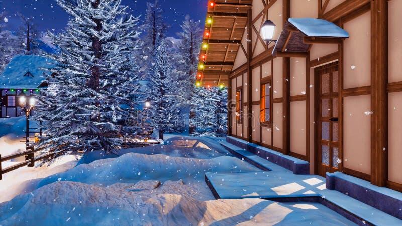 Alpint korsvirkes- hus på den snöig vinternatten royaltyfri illustrationer