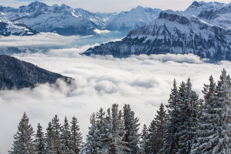 Alpint landskap för storartad vinter med höga berg arkivbild