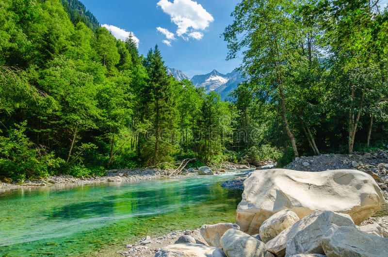 Alpint landskap med en bergbäck, Österrike royaltyfria foton