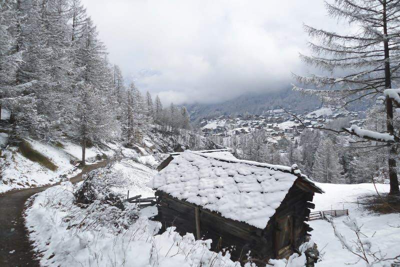 Alpint landskap med ett gammalt traditionellt träskjul arkivfoton