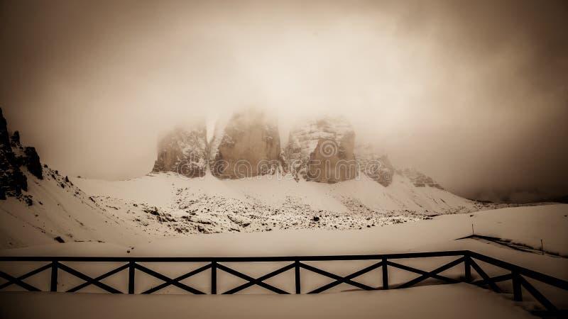 Alpint maximum med snö arkivbild