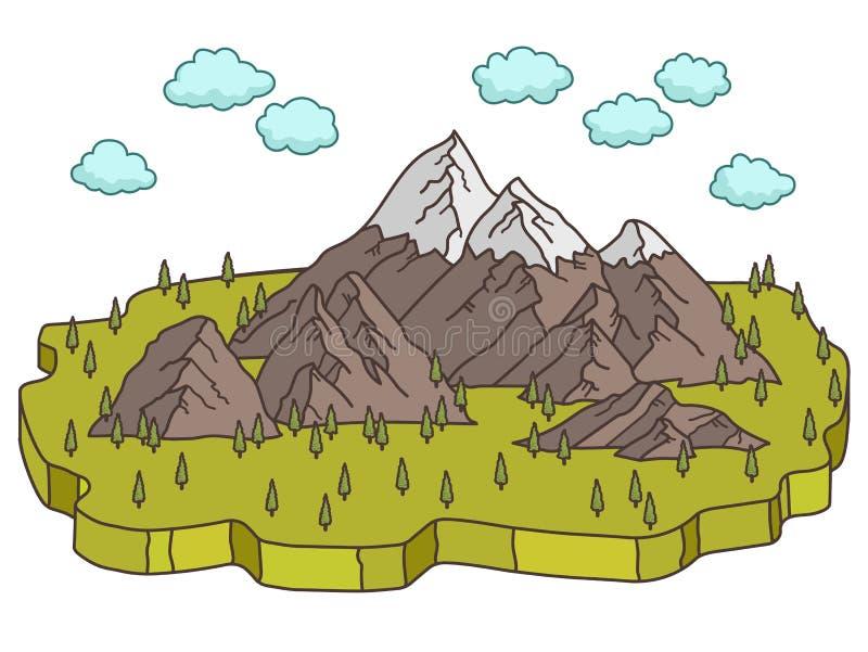 Alpint med den isometriska begreppsnaturen för landskap royaltyfri illustrationer