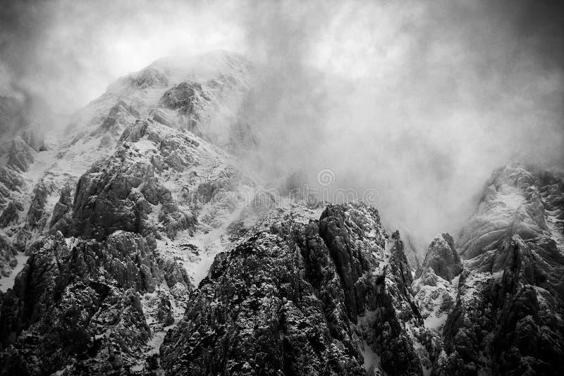 Alpint vinterlandskap i Transylvanian fjällängar fotografering för bildbyråer