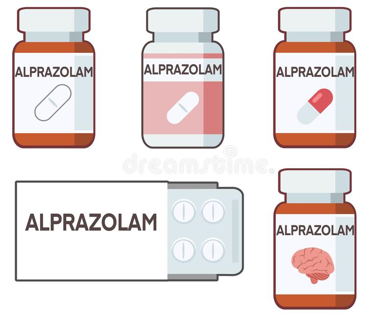 Alprazolam is an anxiolytic belonging to the benzodiazepine family. Illustration vector illustration