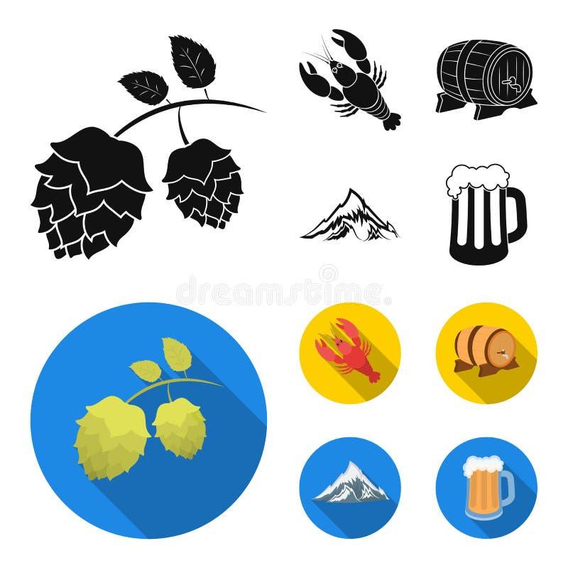 Alps, baryłka piwo, homar, podskakują Oktoberfest ustalone inkasowe ikony w czarnym, mieszkanie symbolu stylowy wektorowy zapas royalty ilustracja