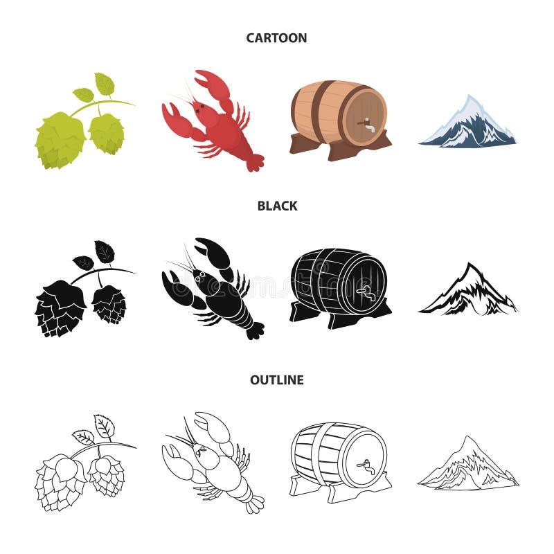 Alps, baryłka piwo, homar, podskakują Oktoberfest ustalone inkasowe ikony w kreskówce, czerń, konturu stylowy wektorowy symbol ilustracji