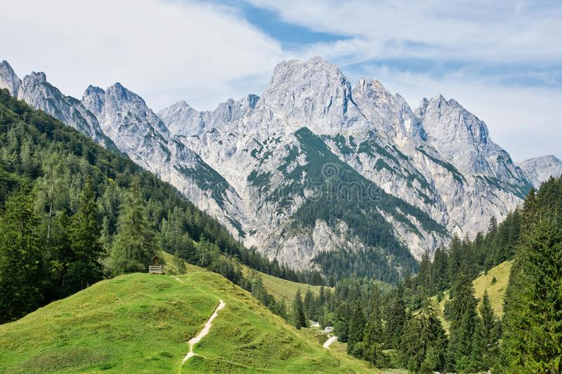 Alps beautiful view bavarian Alps and Austrian Alps hiking routes, Berchtesgaden region, Germany and Austria royalty free stock photo