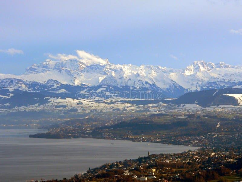 Download Alps beneath Zurich stock image. Image of winter, peaks - 526875