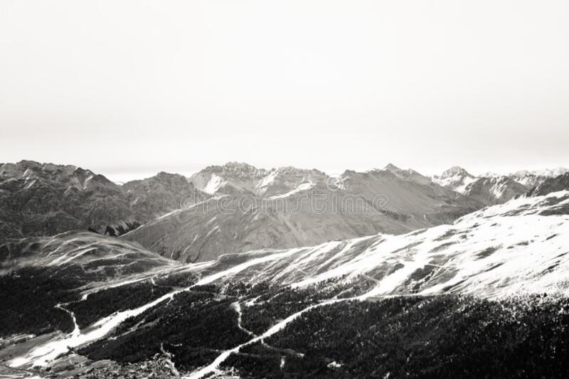 The Alps in black and white stock photo