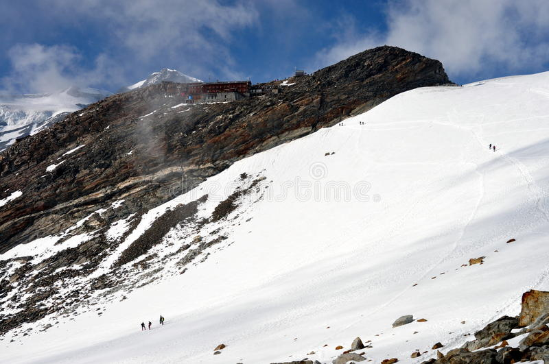 Download Alps - Mount Rosa Landscape With Climbers And Gnifetti Mountain Dew Stock Image - Image: 33675007