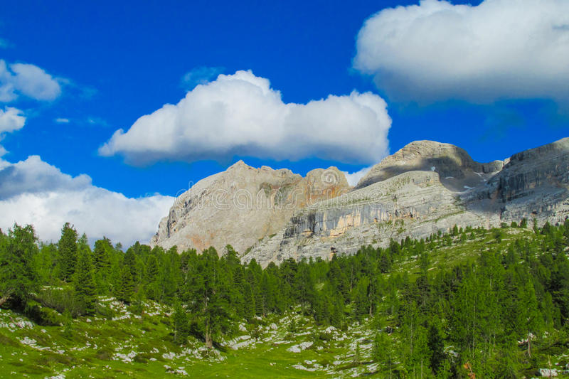 Alps mountain green valley. Landscape in summer, rocky peaks, greenery and blue sky in Dolomite alps stock photography
