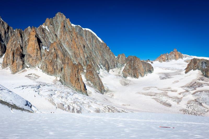 Alps mountains ridge summits glacier landscape, Mont Blanc massif. Mountains alps range ridge summits peaks landscape glacier alpine view, beautiful Mont Blanc royalty free stock image