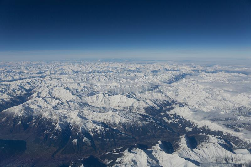Aerial view over the Alps near Bolzano stock images