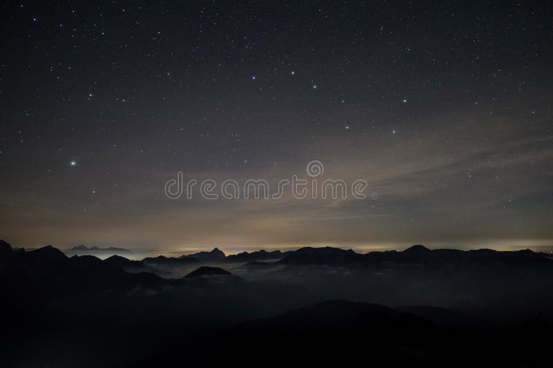 Alps at night with Big Dipper royalty free stock images