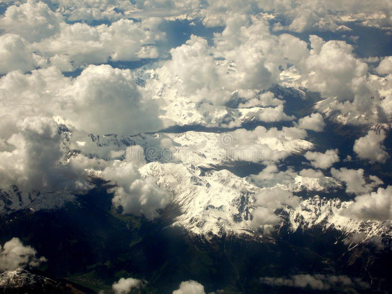 The Alps from the plane stock photos