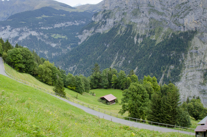Alps scenery with Murren Village in Switzerland stock photo