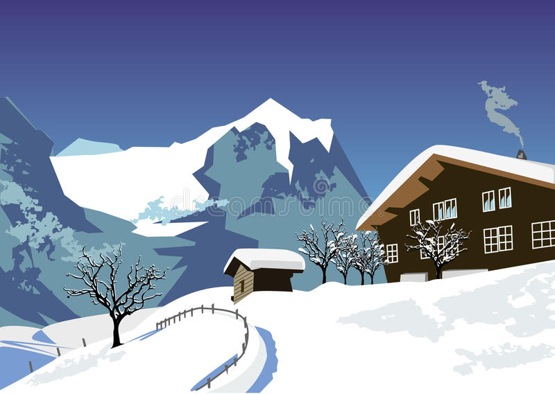 Download Alps view stock vector. Image of swiss, snow, alps, tourism - 9375469
