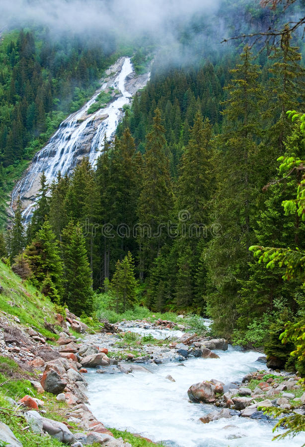 Download Alps waterfall summer view stock image. Image of water - 20559721