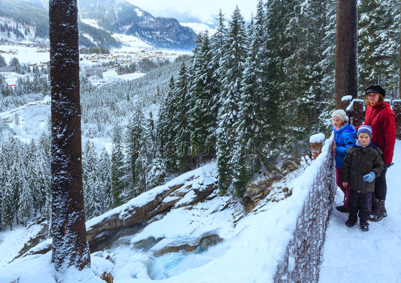 Download Alps Waterfall Winter View And Family Stock Image - Image: 28688245