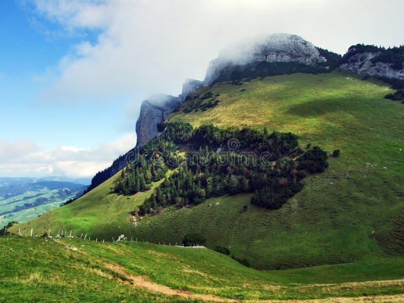 Alpstein山脉的易上镜头的牧场地和小山 免版税图库摄影
