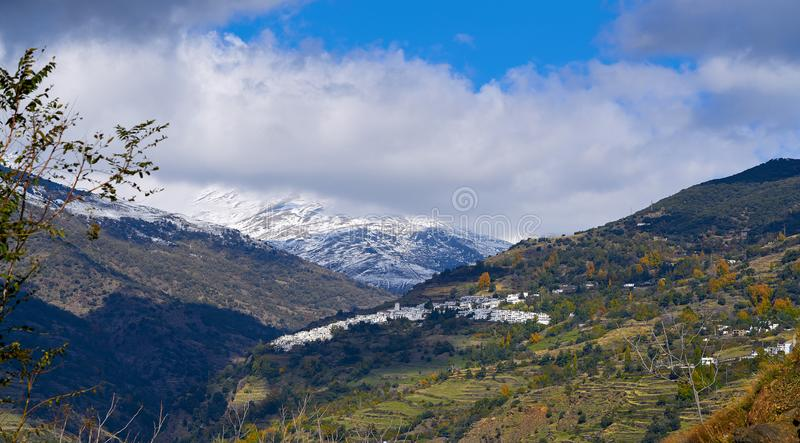 Alpujarras卡皮莱拉村庄在格拉纳达 库存图片