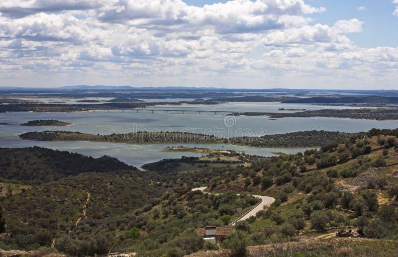 Alqueva lake, Monsaraz. Beautiful view into the lake of Alqueva at Monsaraz in Alentejo, Portugal stock images