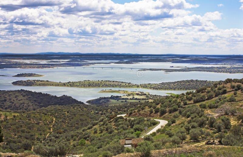 Alqueva lake, Monsaraz. Beautiful view into the lake of Alqueva at Monsaraz in Alentejo, Portuga royalty free stock images