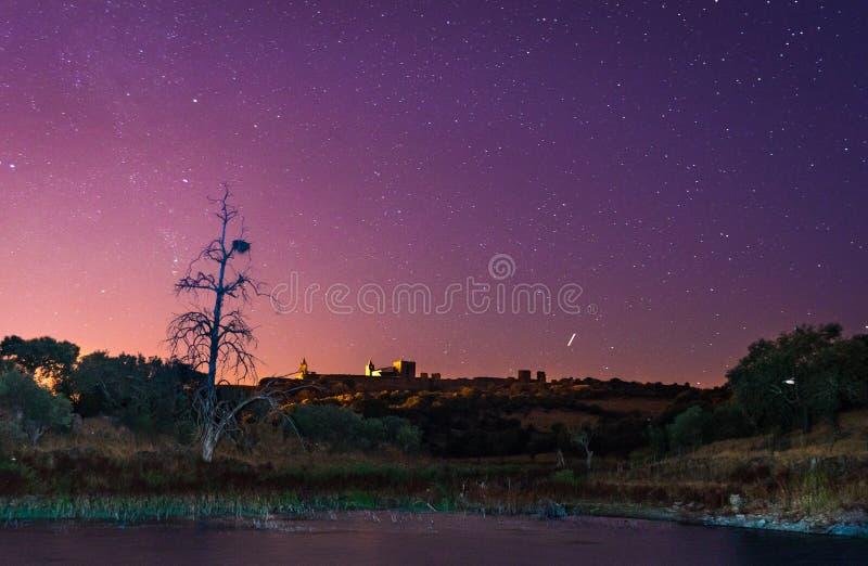 Alqueva lake near Monsaraz village. In the night, Portugal stock photo