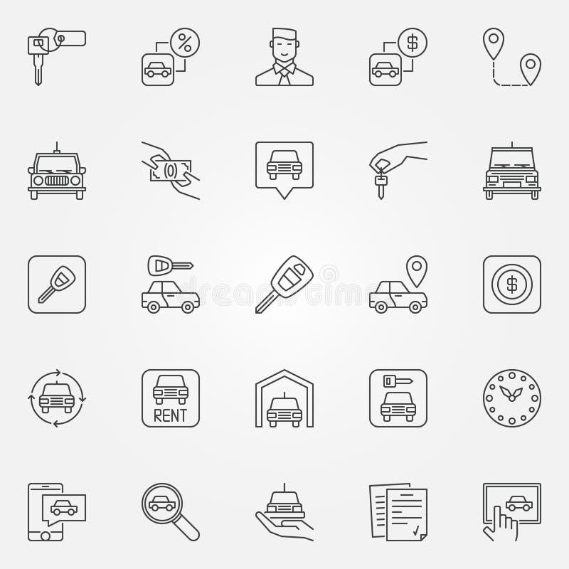 Alquile los iconos de un coche fijados ilustración del vector