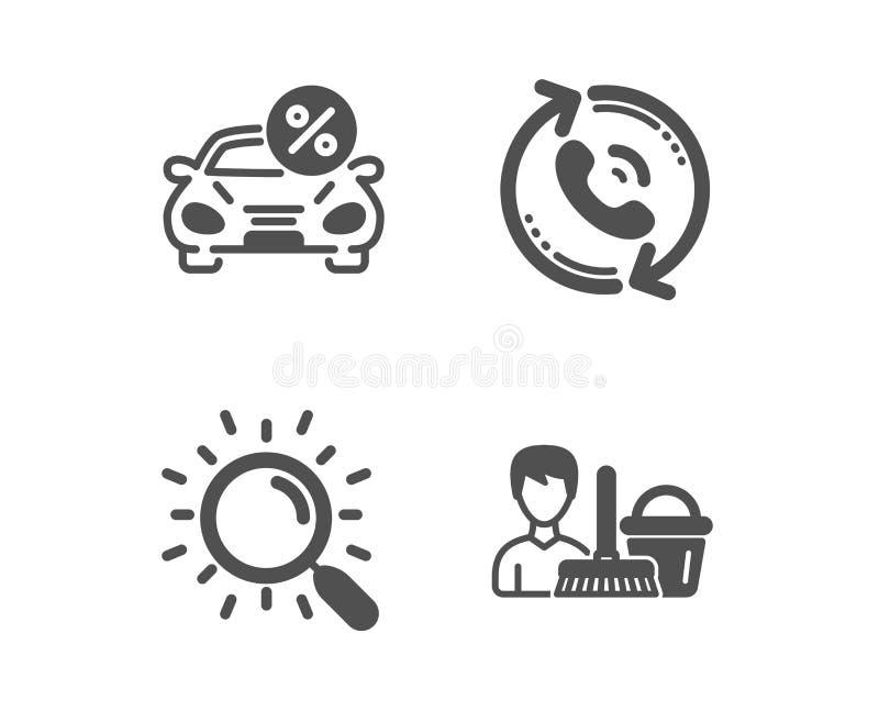 Alquiler con opción a compra de la búsqueda, del coche e iconos del centro de atención telefónica Muestra de limpieza del servici stock de ilustración