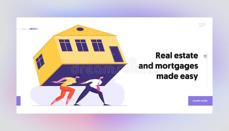 Alquiler costoso, página abrumadora del aterrizaje de la página web de la hipoteca, par Carry Huge House en la parte posterior stock de ilustración