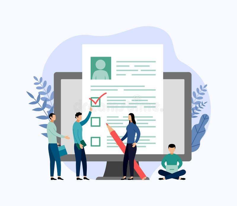 Alquiler y reclutamiento en línea, lista de control, cuestionario del trabajo libre illustration