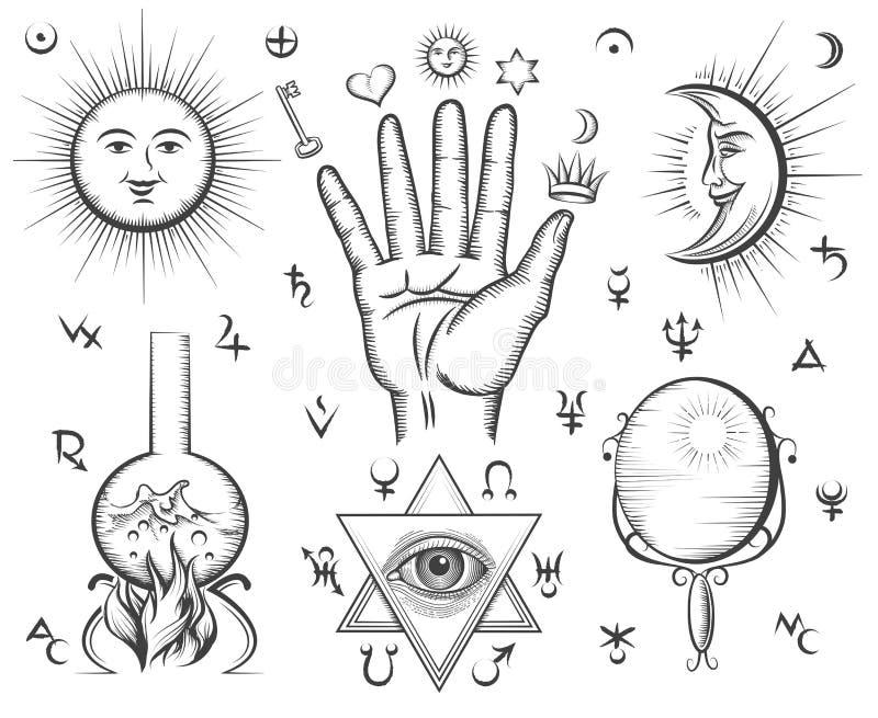 Alquimia, espiritualidad, ocultismo, química, magia stock de ilustración
