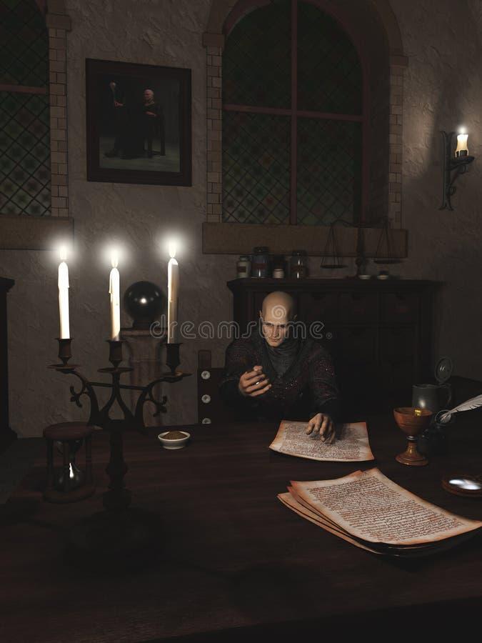 Alquimista no trabalho em seu estudo ilustração do vetor