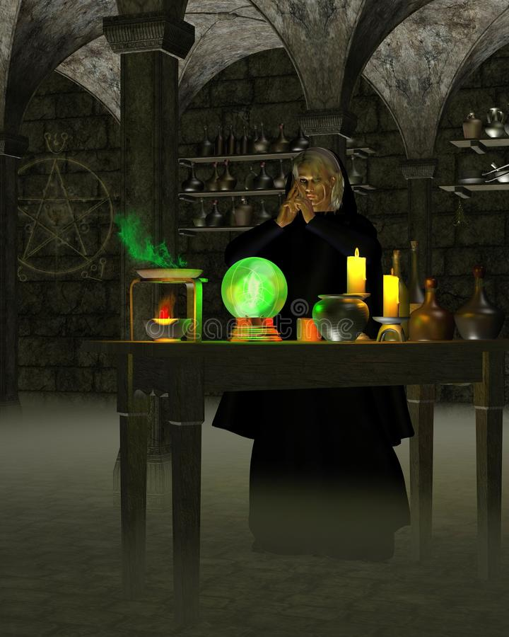 Alquimista ou feiticeiro no laboratório ilustração stock