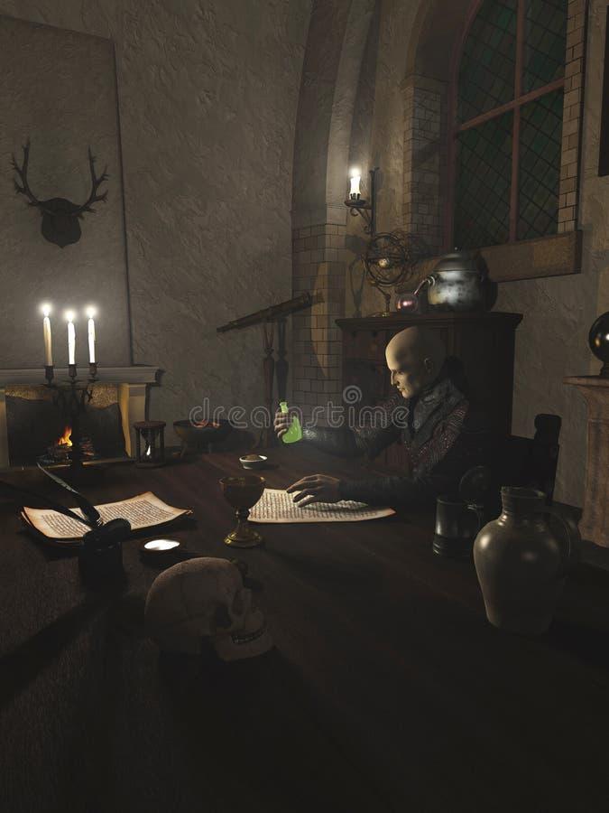 Alquimista Researching em seu estudo ilustração do vetor