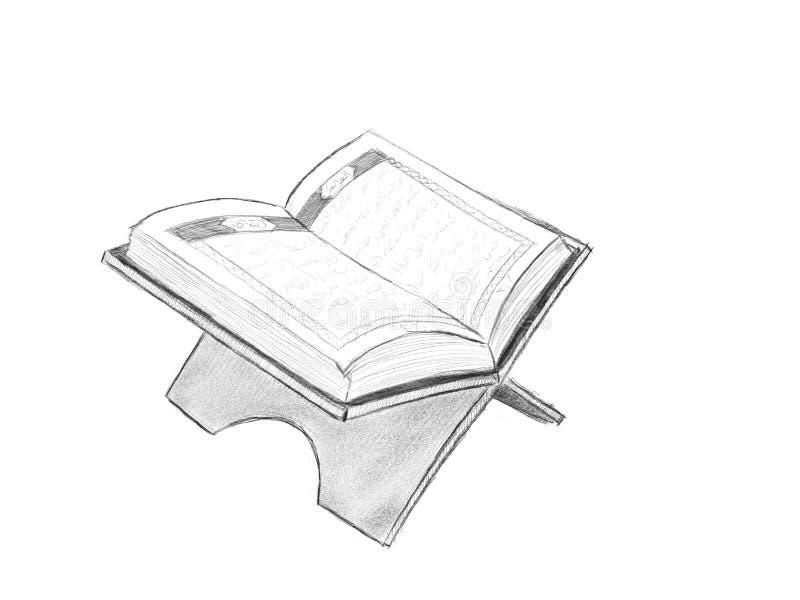 Alquranillustrationen med skissar stil och svartvit färg stock illustrationer