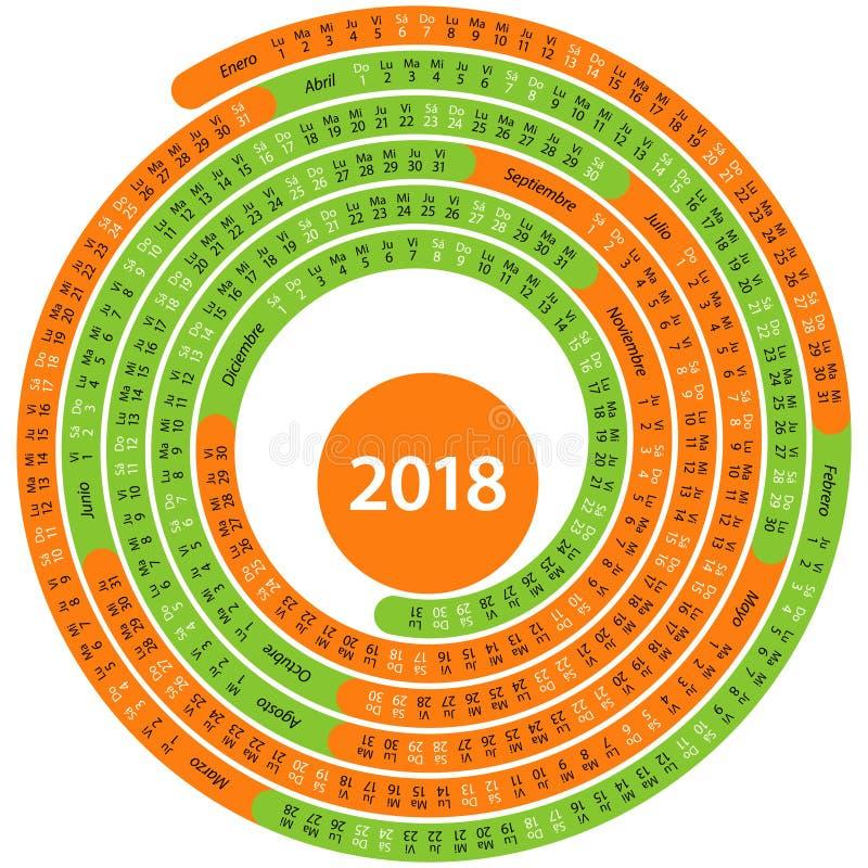 Alrededor de calendario de 2018 españoles ilustración del vector