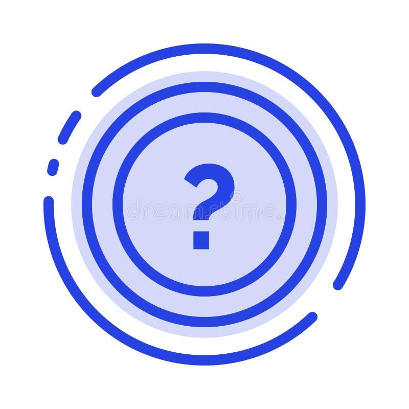 Alrededor, pida, información, pregunta, línea de puntos azul línea icono de la ayuda ilustración del vector