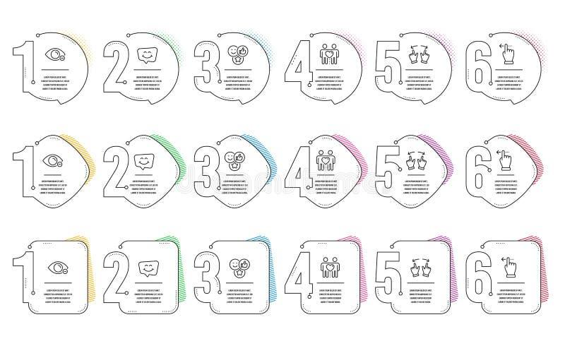 Als, Bewegingsgebaar en Touchscreen gebaar geplaatste pictogrammen Van het van de glimlachpraatje, Bijziendheid en Vriendenpaar t royalty-vrije illustratie