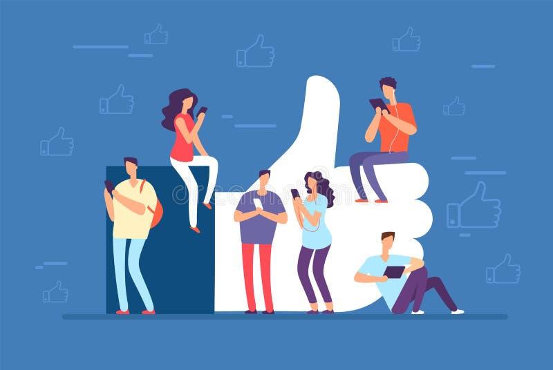 Als Concept Mensen met omhoog telefoons bij grote duimen, zoals pictogram Sociale media communautaire vectorachtergrond royalty-vrije illustratie