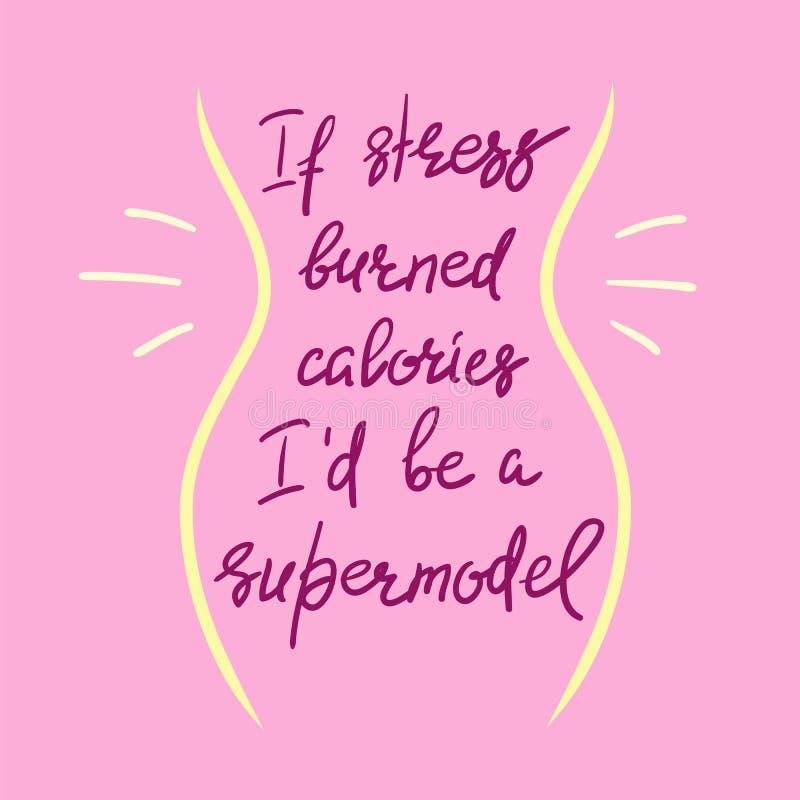 Als de spanning calorieën I ` D brandde ben een supermodel - grappige met de hand geschreven motieven citeert stock illustratie