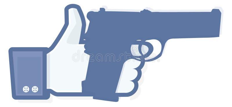 Als duim met revolver stock illustratie