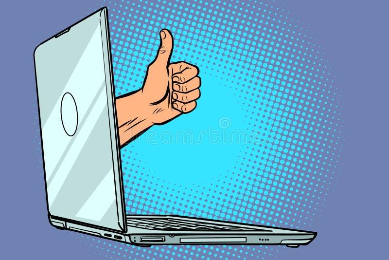 Als duim omhoog van computer vector illustratie